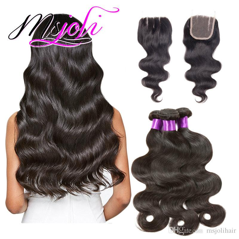 Remy Hair Weaving Extension Type Raw Unprocessed Virgin Indian Hair Body Wave Hair Three Bundles with Closure