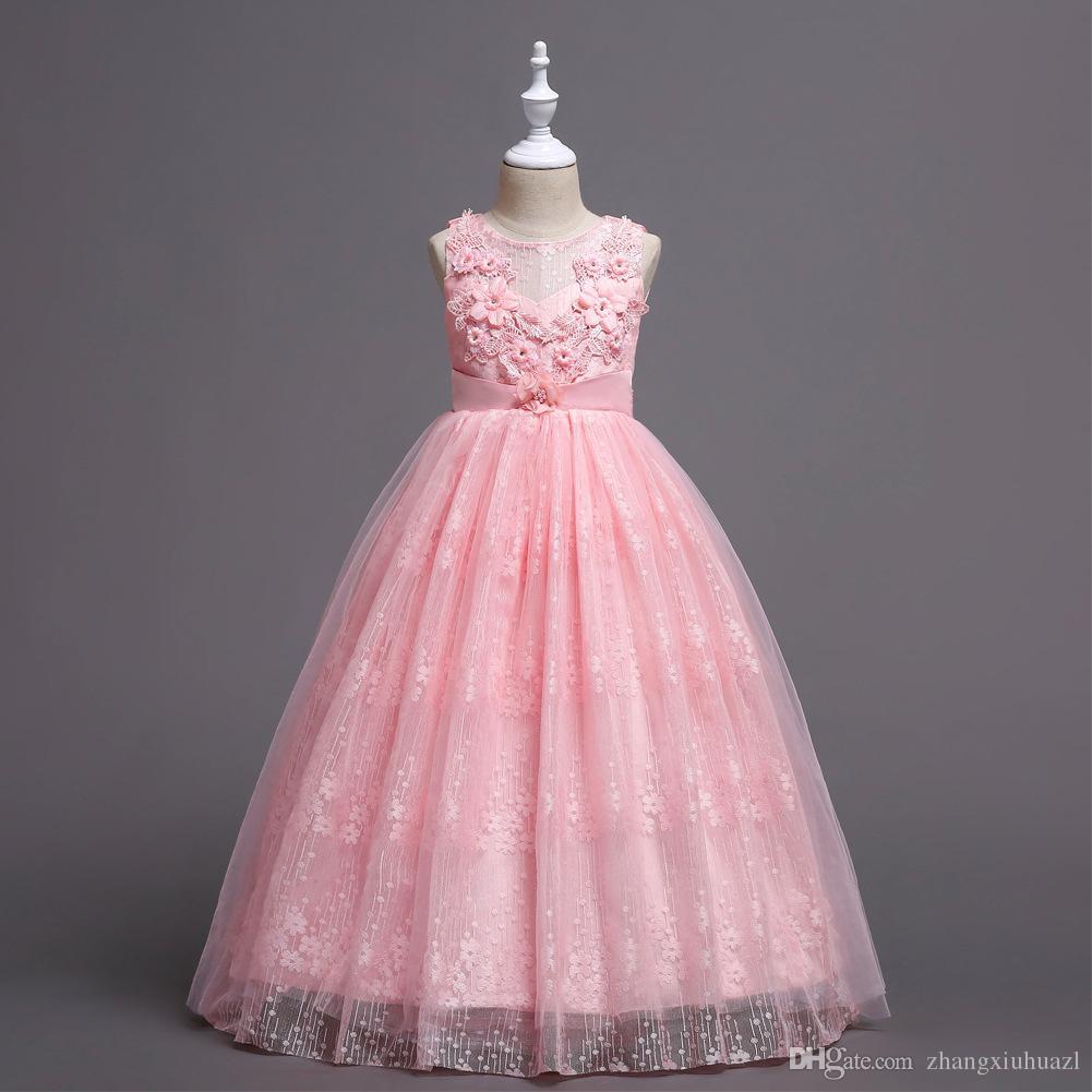 b6d63d6f8a Compre Vestido De Niña De Las Flores Formal 3 8 Años Floral Vestidos Para  Niñas Bebés Vestidos es Banquete De Boda Ropa Para Niños Ropa De Cumpleaños  ...