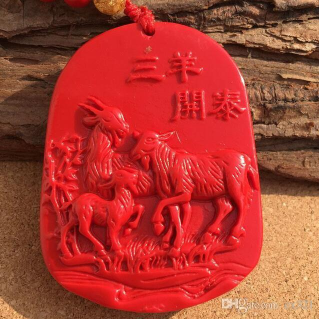 Wholesale Natural Taiwan Cinnabar Sanyang Kaitai Pendant This Year of the Zodiac Sheep Necklace Sweater Chain