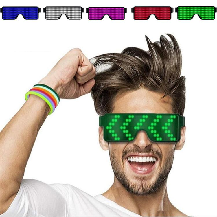 Newes 8 style Quick Flash USB Led Party USB charge Luminous Glasses Glow Sunglasses Concert light Toys Christmas decorations Party Favor5181
