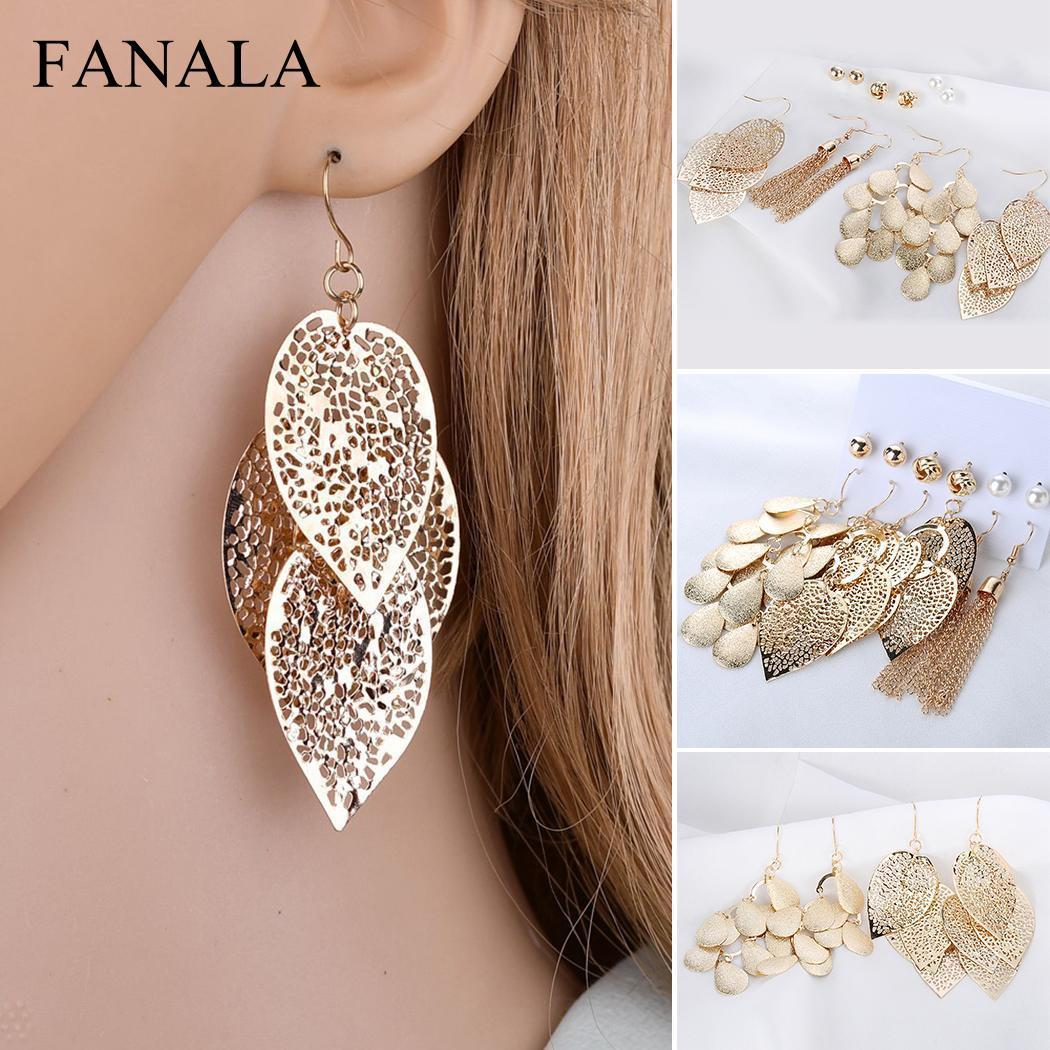 Women Fashion Jewelry Retro Artificial Gem Gold Leaf Pendant Hook Earrings  Casual Ear Stud Earring Set