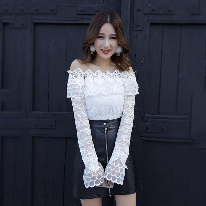 e4084727281325 2019 New Women Slash Neck Bottoming Shirt Spring Sweet Hollow Out Floral  Lace Blouse Female Long Sleeve Mesh Blouses Short Tops A1343 From  Deborahao, ...