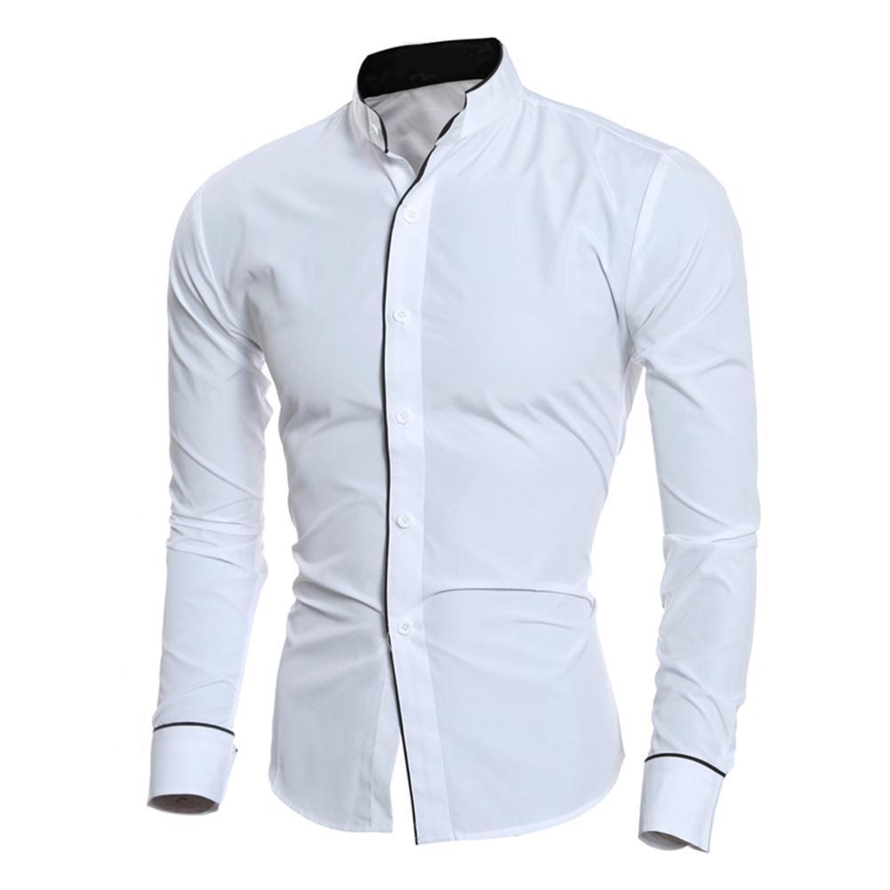 sale retailer 207ee 5cc39 Mode Herbst Casual Business Männer Hemd Stehkragen Langarm top heiß