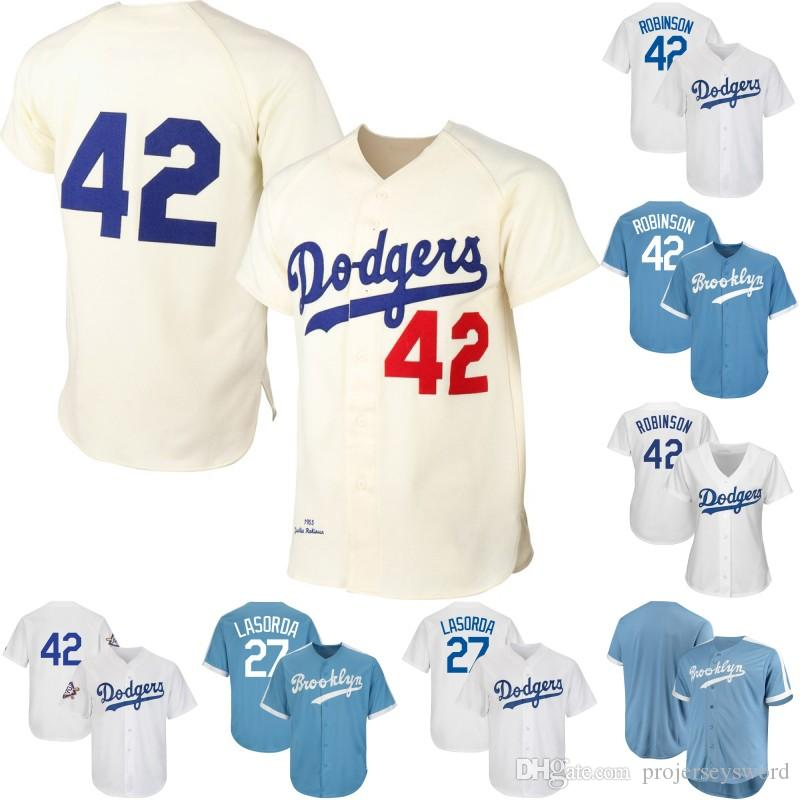 save off dfabd 585f4 Brooklyn Dodgers 42 Jackie Robinson 27 Tommy Lasorda 100% Stitched 2019  Jackie Robinson Day Mens Womens Youth Baseball Jerseys Free Shipping