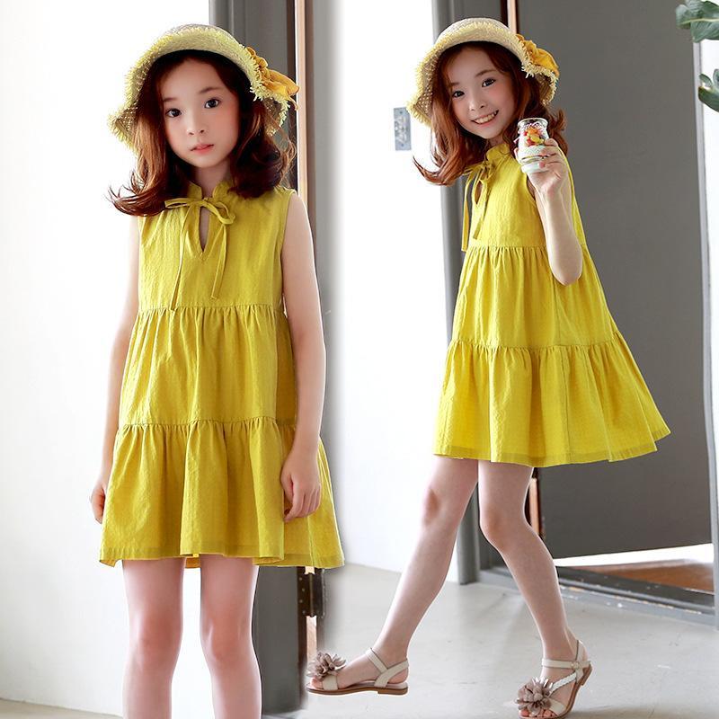17ccbfe08 Compre 2019 Nuevo Verano Para Niños Vestidos Para Niñas Color Sólido  Amarillo A Line Casual Sleeveles Para 4 16T Niña Vestido De Niño Ropa  4ds223 A  40.76 ...