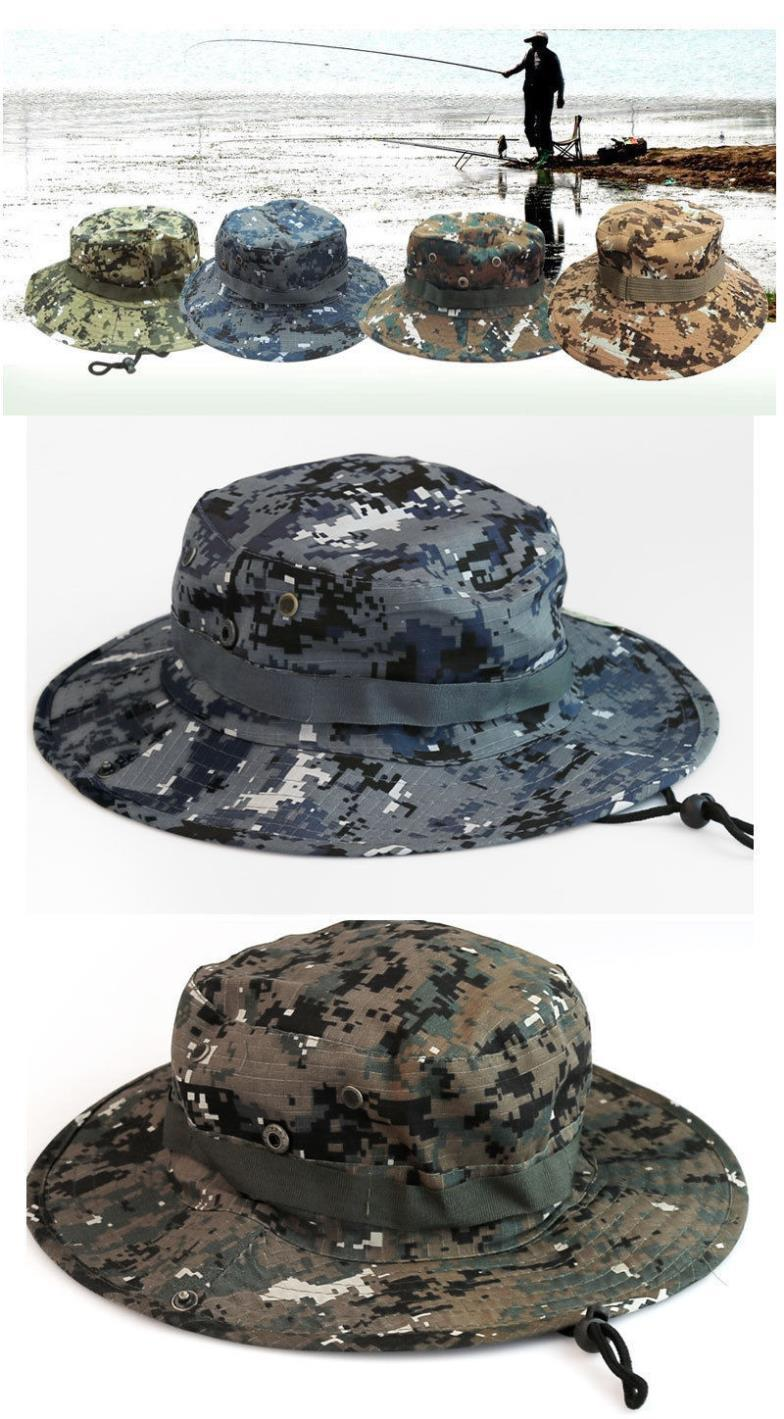 f5a13359193 2019 5X Hot Womens Mens Unisex New Cool Camo Camouflage Boonie Cap Sun  Bucket Brim Bush Army Fishing Hiking A2 Hunting Hat From Gaiming