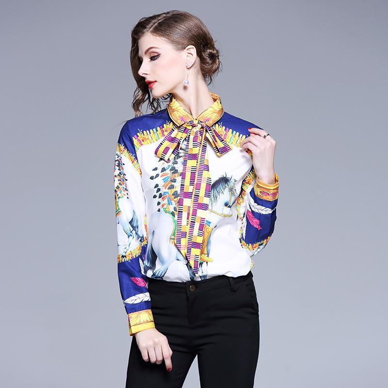06c1dc17ae344 Compre 2019 Blusa Estampada Para Mujer Camisas De Manga Larga Para Dama  Career OL Camisa Formal Camisetas En Color De Contraste A  31.16 Del  Sinofashion ...