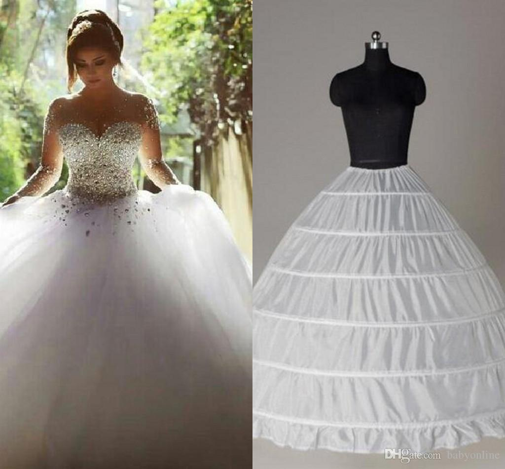 Top Quality Ball Gown 6 Hoops Petticoat Wedding Slip Crinoline In Stock Bridal Underskirt Layers Slip Skirt Crinoline For Quinceanera Dress