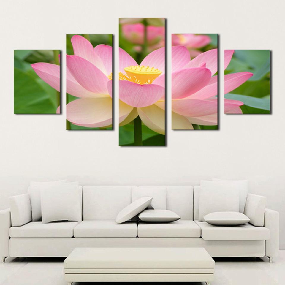 Canvas Art Hd Posters Prints Painting Pcs Pink Lotus Flowers