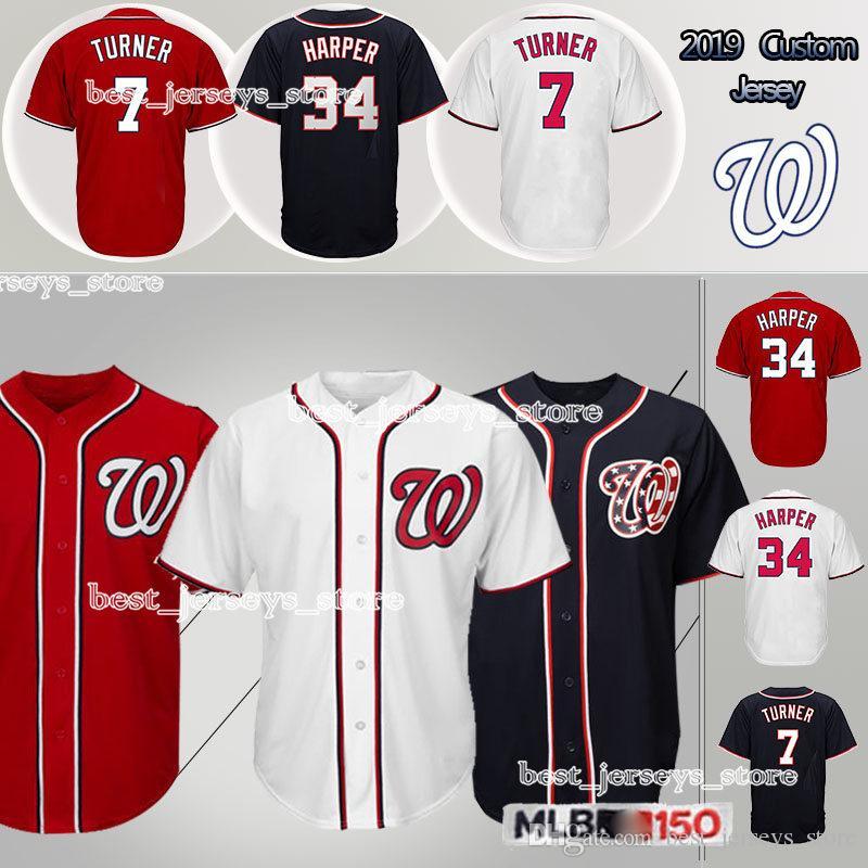 best service c1582 047b7 Customized jersey 7 Trea Turner Washington jerseys Nationals Top MEN shirt  18/ 2019 Adult Design sweater