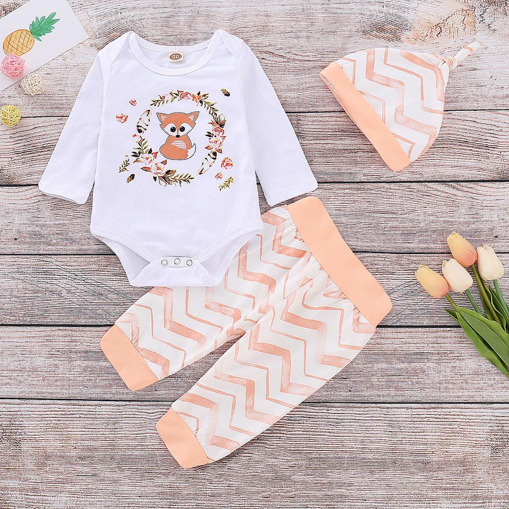 69e9c182033c0 Cute Fox Print Baby s Sets for Summer 2019 Newborn Infant Baby Girl Boy  Cartoon Romper Tops Pants Hat Clothes Outfits Set