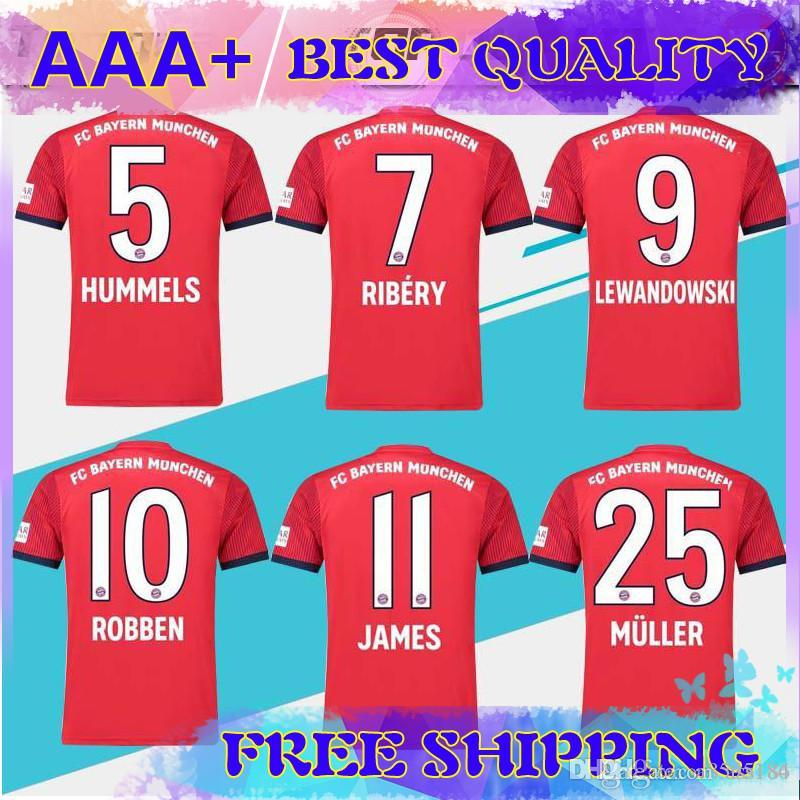 huge selection of bbfe0 eadbf 2019 #25 MULLER home Soccer Jersey 18/19 home red Soccer Shirt Customized  #11 JAMES #9 LEWANDOWSKI Bayern Munich Football uniform size S-4XL