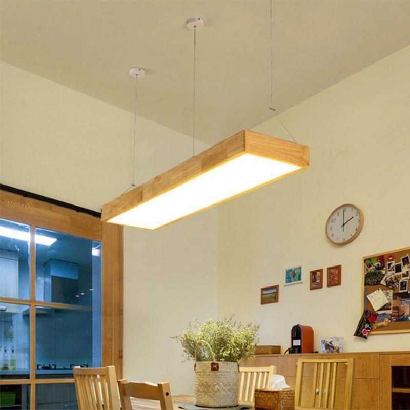 Led Restaurant De Cofe Minimaliste Bois Lampe Suspendu Nordique Barre En Luminaire Bureau Massif Rectangulaire Moderne BCxedo