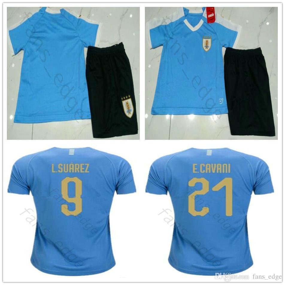 the latest 2d884 4e4e5 Kids 2019 Uruguay Copa America Soccer Jersey 19 20 Uruguay Home L.suarez  E.cavani Shirt D.GODIN National Team Youth Child Football Uniforms