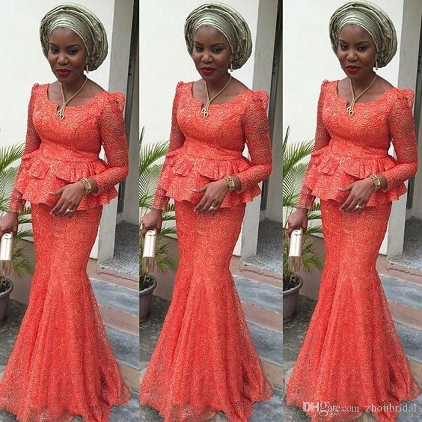 2019 New Orange Sheath Arabic Evening Dresses Scoop Neck Long Sleeve With Lace Floor-Length Custom Made Formal Gowns