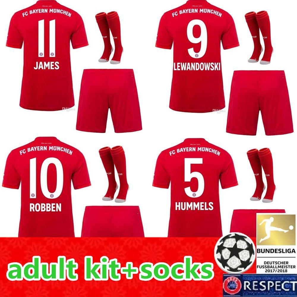 New 2019 2020 men Bayern Munich Soccer Jerseys 19 20 Home adult Kits JAMES LEWANDOWSKI MULLER KIMMICH HUMMELS Football shirts Kit Socks