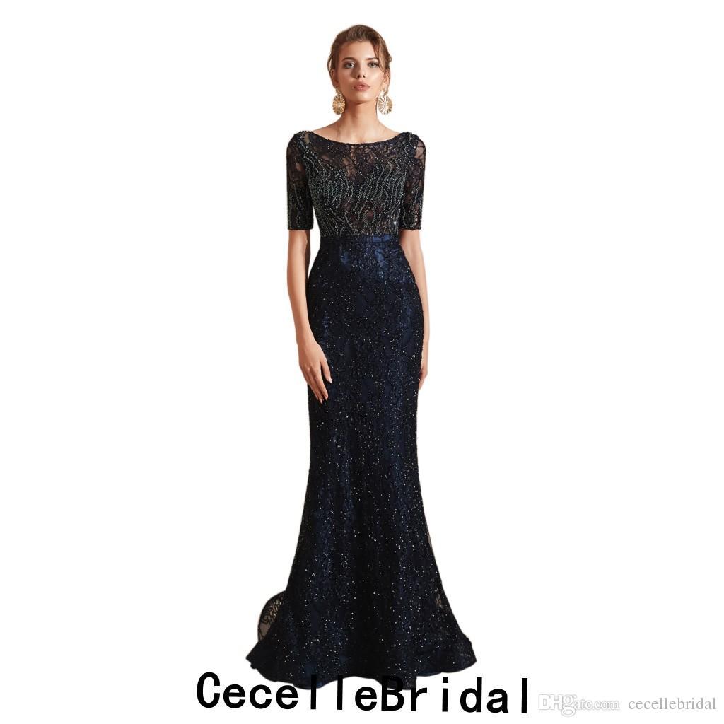 on sale 2b0ca 6a2bc 2019 blu scuro sirena di pizzo lungo abito da sera donna 2019 con mezze  maniche di lusso che borda le donne festa formale da sera della madre