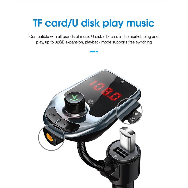 D5 بلوتوث سيارة كيت fm الارسال استقبال اليد المجانية مشغل موسيقى mp3 المزدوج منفذ USB متعدد الوظائف شاحن سريع شاشة عرض TF بطاقة يو القرص