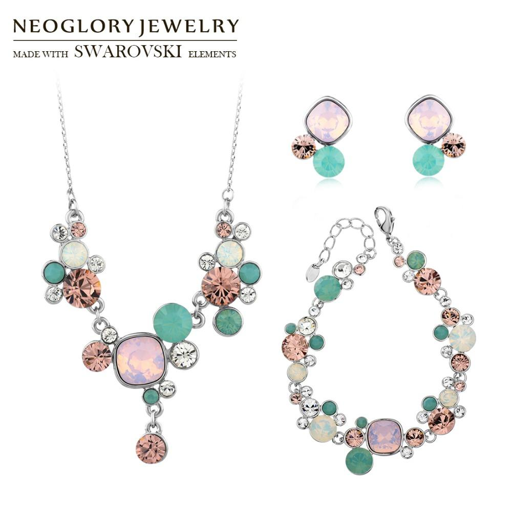 2019 Wholesale MADE WITH SWAROVSKI ELEMENTS Crystal  Amp  Rhinestone  Jewelry Set Colorful Trendy Style Necklace  Amp  Earrings  Amp  Bracelet  From ... 7989f44a7