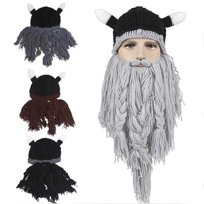 e91cb779c96 2019 Men S Hat Head Barbarian Vagabond Viking Beard Beanie Horn Hats  Handmade Knit Winter Warm Holiday Party Cool Funny Cosplay Cap From Wowsky
