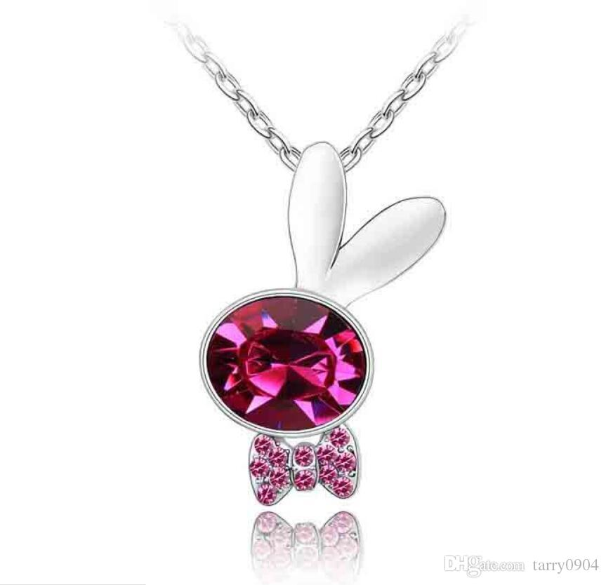 fashion Originality jewelry Woman Ornaments Using Swarovski Elemental Crystal Necklace Honey rabbit Boy Cartoon Pendant Female accessories