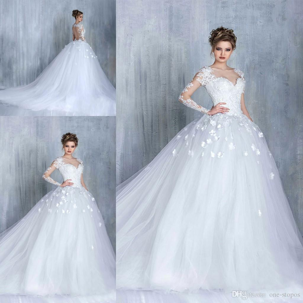 62523b976 Vintage White Ivory Ball Gown Wedding Dress 2019 Luxury Backless Bridal  Gown Cheap Plus Size Long Sleeve Wedding Dresses Custom Made Tea Length  Wedding ...