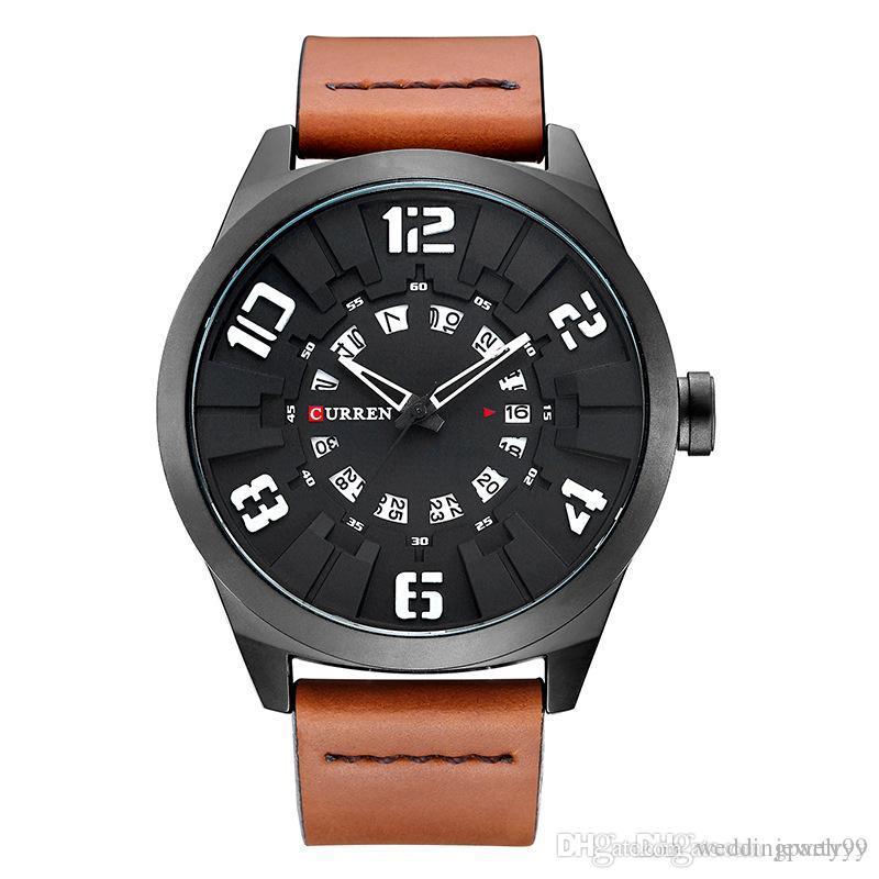 6edd51bb9a08 Compre 2017 Nueva CURREN Relojes Hombres Moda De Lujo Hombre Deporte Reloj  Masculino Militar Reloj De Pulsera De Cuarzo De Cuero Fecha Reloj Relogio  ...