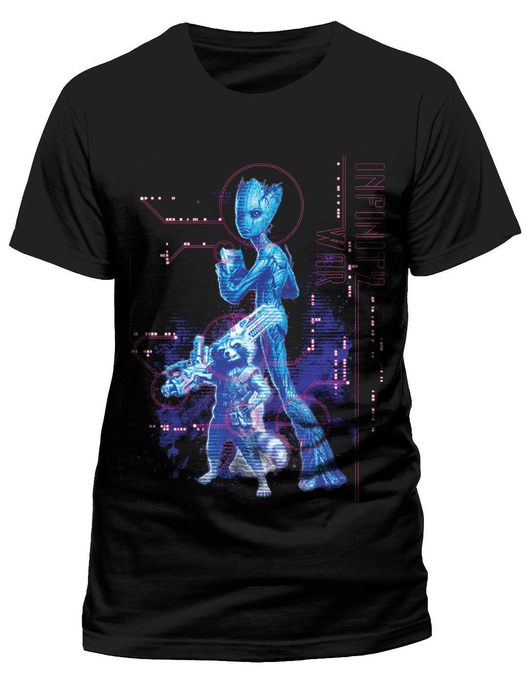 f4027791a Marvel Avengers Infinity War 'Neon Groot' T-Shirt - NEW & OFFICIAL! Men  Women Unisex Fashion tshirt Free Shipping black