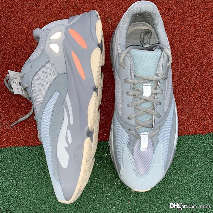 reputable site ebdc0 faeda Acheter 2019 Nouveau Authentique Kanye West 700 Inertia Gris BASF Originals  12Yeezy Wave Runnner Chaussures De Course Hommes Sneakers Sports EG7597  11Adidas ...