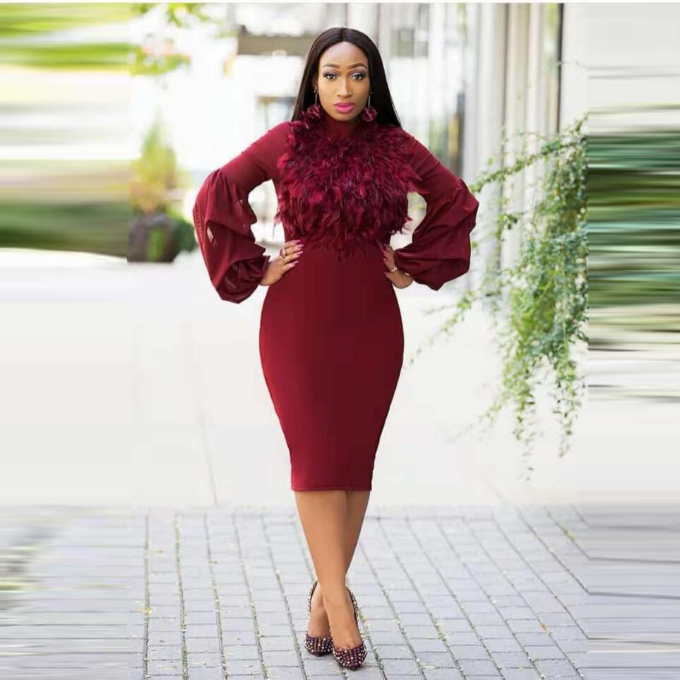 5a9aa0e9f2cad African Dress Spring Women Knee Length Mesh Patchwork Pencil Dress Long  Sleeve Slim Waist Bodycon Dress Elegant Wine Red Office Dresses Buy Party  Dress ...