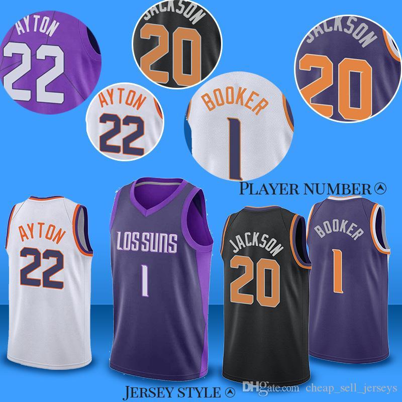 1733ba58a627 2019 Men 1 Booker Basketball Jersey 22 Ayton 20 JacksonPhoenix City Suns Men  Fans Clothes Printed From Cheap sell jerseys