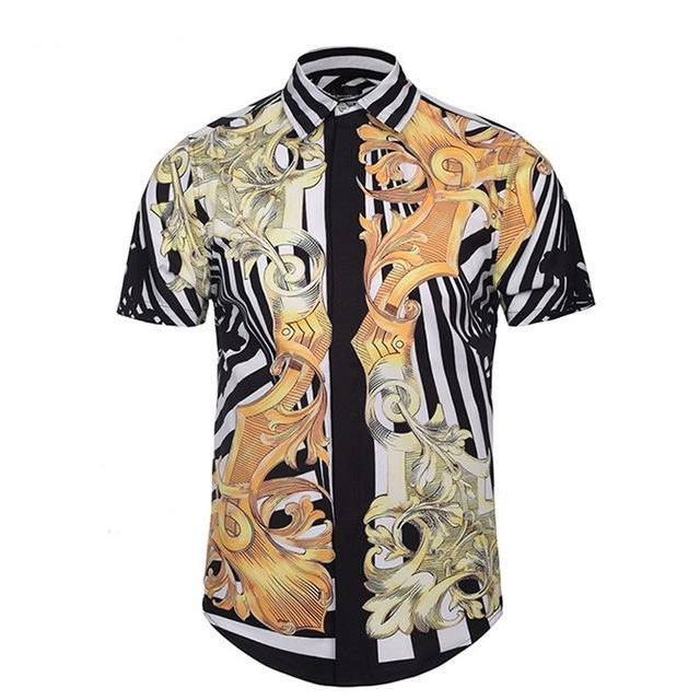c881124c443 2019 New Summer Short Sleeve Beach Hawaiian Shirt 2019 Golden Floral Print  3D Vintage Men Shirt Casual Slim Fit Mens Shirts Plus Size From Fyw0529