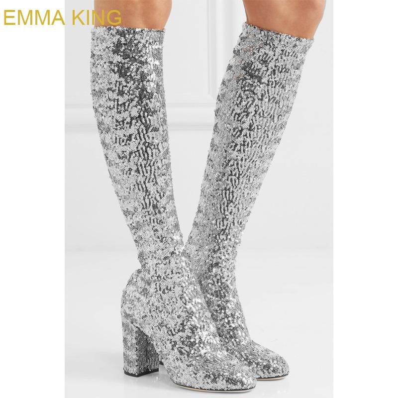 10df68e1ccb4 EMMA KING Glitter Silver Sequins Sexy Party Club Dress Knee High Boots For  Women Pointed Toe Square Heel Winter Boot High Heels Cheap Shoes For Women  ...