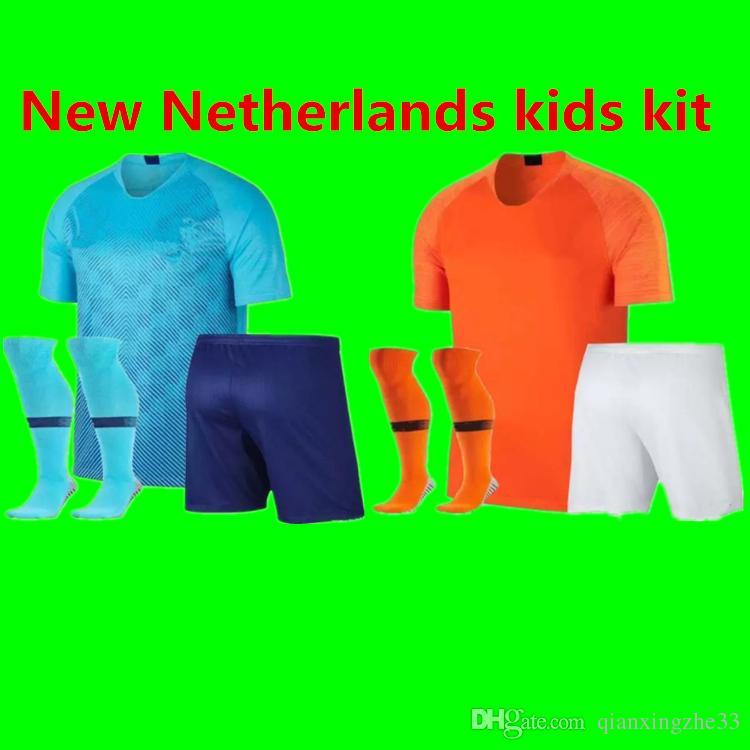 e6e7650a4 2020 Nederlands kids kit soccer jersey Netherland home away orange MEMPHIS  JERSEY ROBBEN 18 19 thai quality V.Persie Dutch football shirs