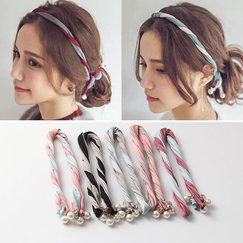Ins hot sale pearl headband girls designer headband hair accessories for women designer headbands sweet bows designer hair bands A5947