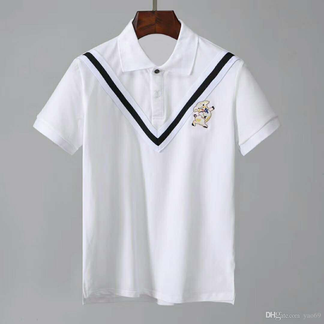 2019 New Mens Polo Shirt Mens High Street Embroidery Polo Shirt
