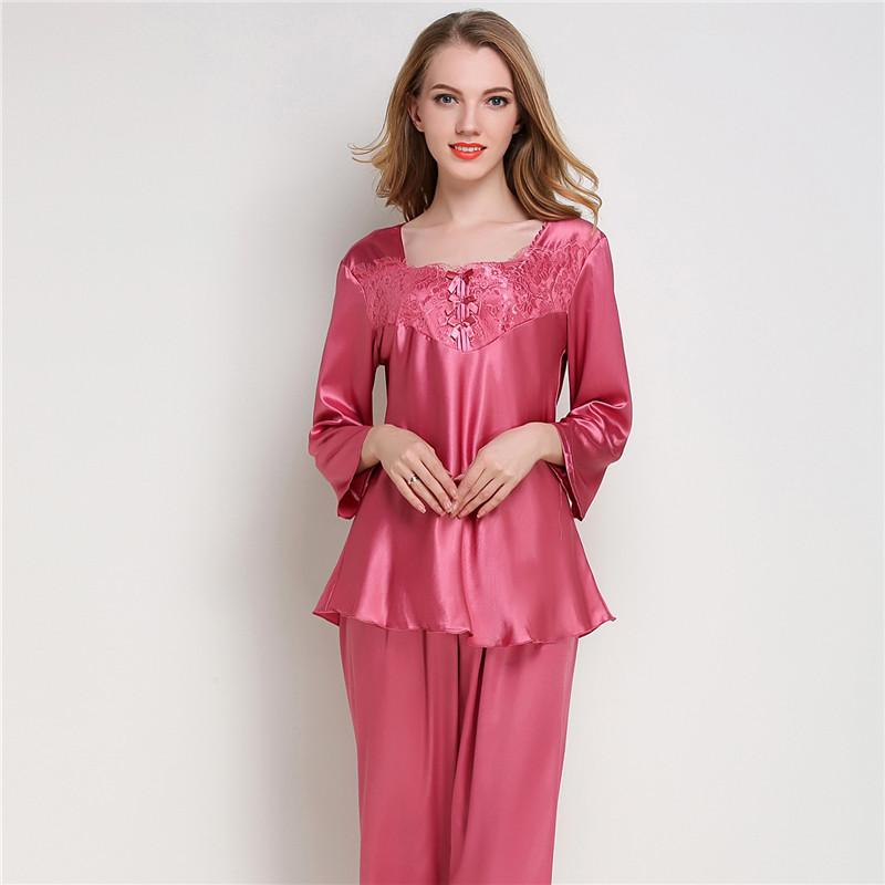 e38a6d89069af Compre Conjuntos De Pijama De Satén Para Mujer Ropa De Dormir De Seda De Manga  Larga Pijama Mujer Traje De Pijama Para Mujer 2 Piezas Ropa De Dormir Para  El ...