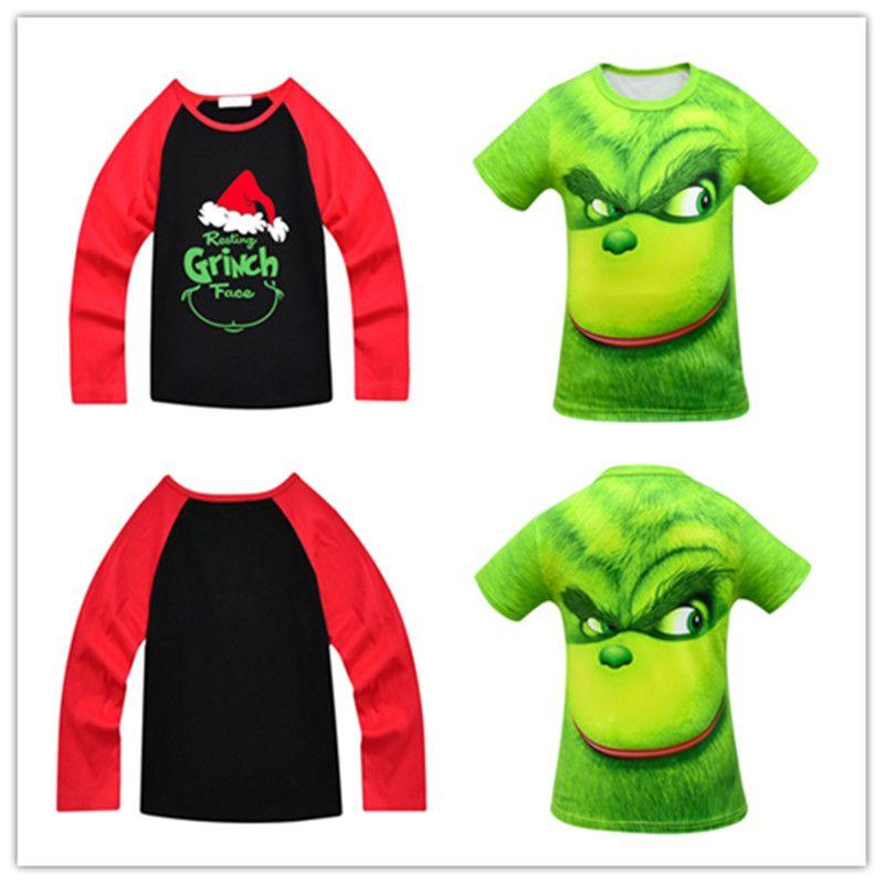 Grinch Kids Tees Face 3d Printed T Shirt Tees Kid Christmas Clothes