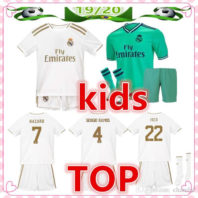 e430e1931c 2019 2020 Camiseta Real Madrid Kids Diseñador De Camisetas 19 20 Real Madrid  Camiseta De Futbol Hazard MODRIC BALE ISCO Niño Camiseta De Fútbol Soccer  ...