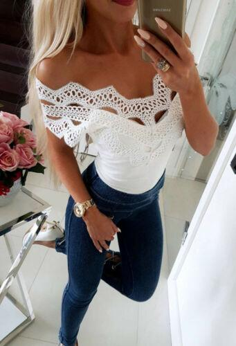 Retro Hot Womens Casual Cold shoulder Chic Stylish Lace Hollow Out Slim T-Shirt Top Ladies Sleeveless Tops Tees girls clothes