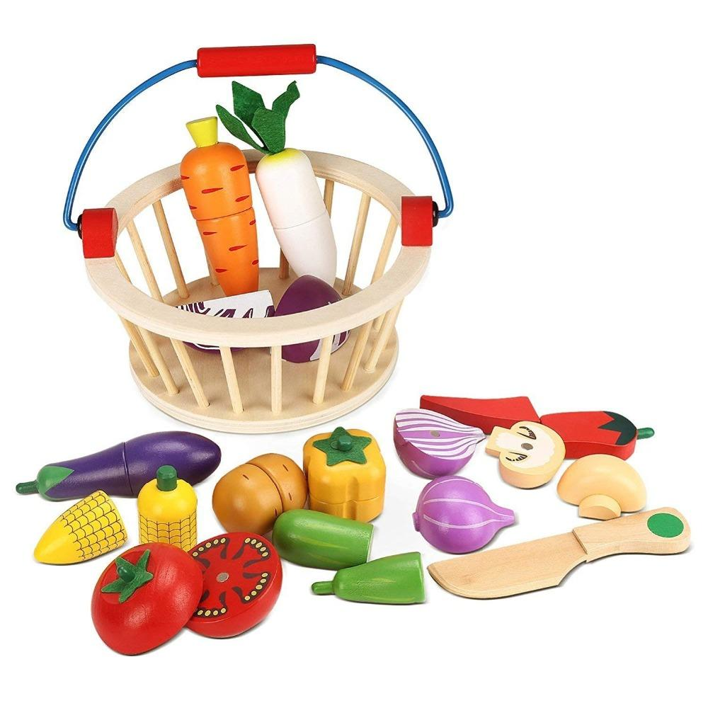 mother garden wooden basket kitchen toys cutting fruit vegetable play  miniature food kid baby early education role play toy