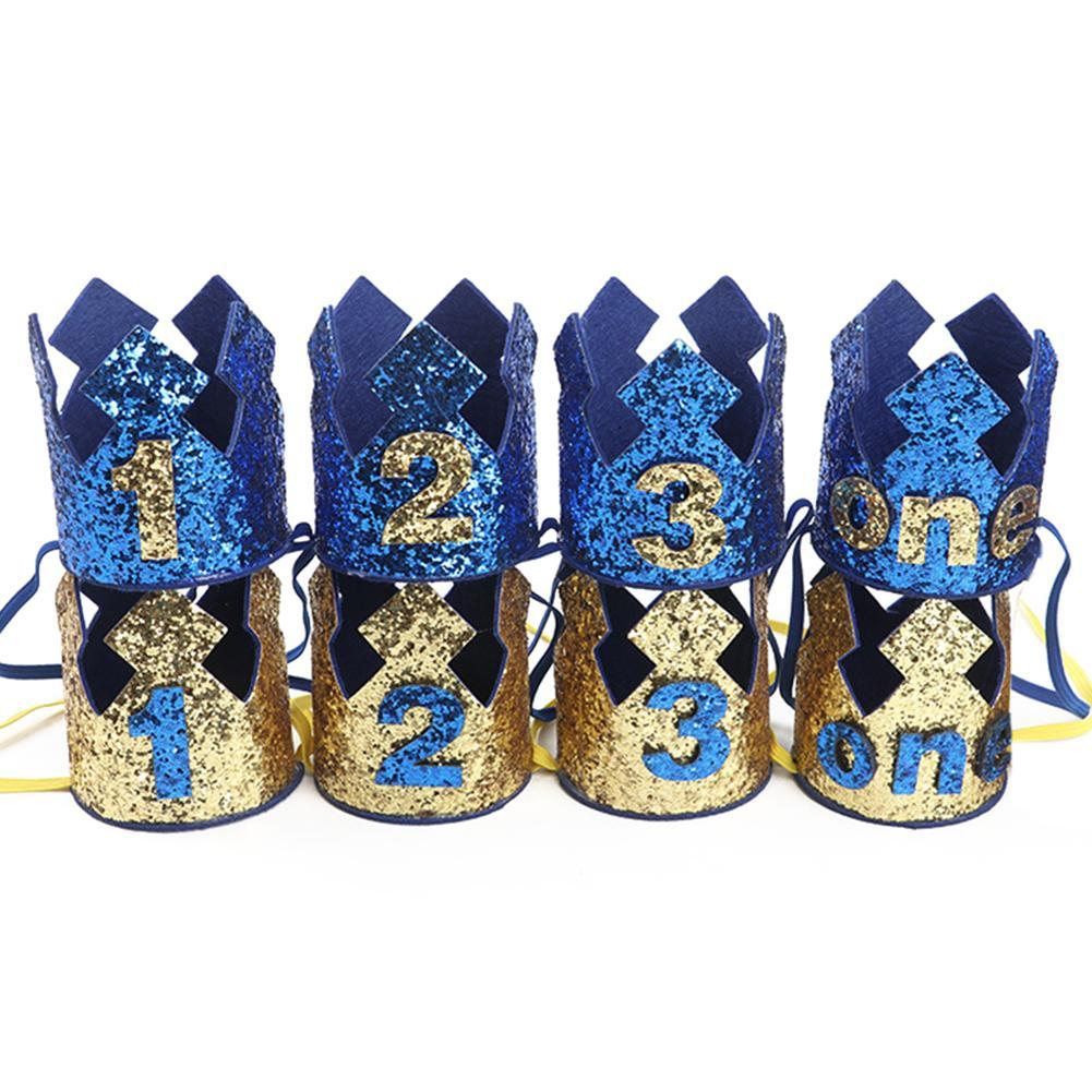 New Blue Gold Boy First Birthday Hat Glitter Princess Crown Number 1st 2 3 Year Old Party Baby Shower Decor Headband Kids Gifts Diy Paper Hats