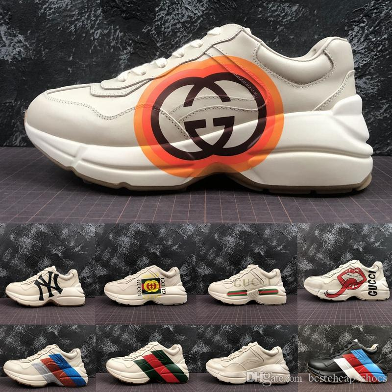 b7e23f2a7ba Gucci Sneakers Nueva Calidad Superior Rhyton Vintage Sneaker Dad Shoes  Triple S Fashion Luxury Designer Brand Mens Sneakers Womens Trainer Running  ...