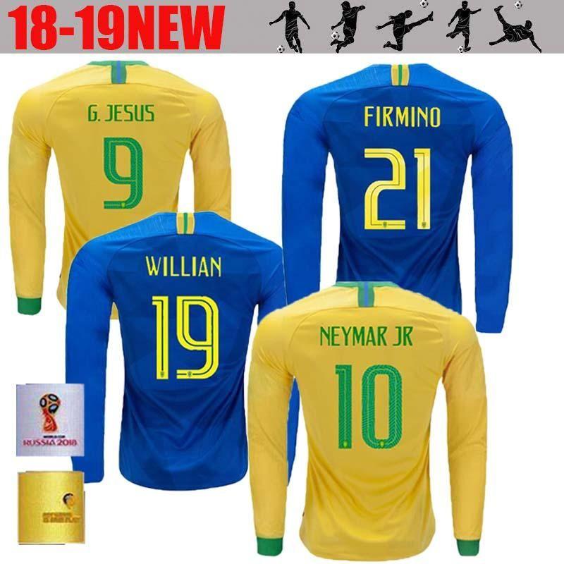 Thai Quality New Brazil Home Away Long Sleeve Futbol Camisa Soccer Jerseys  LS Football Camiseta Brasil MEN Adult Shirt Maillot Brasil Soccer Jersey  NEYMAR ... e817b429d