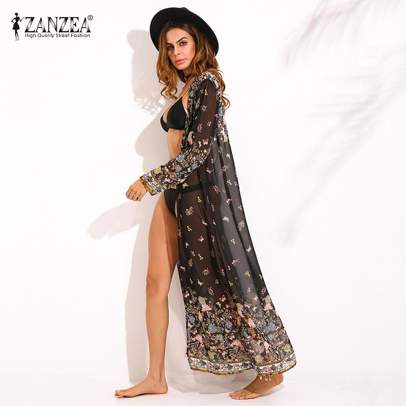 wholesale Womens 2019 Summer Floral Cardigan Jacket Kimono Beach Long Tops Casual Basic Coats Plus