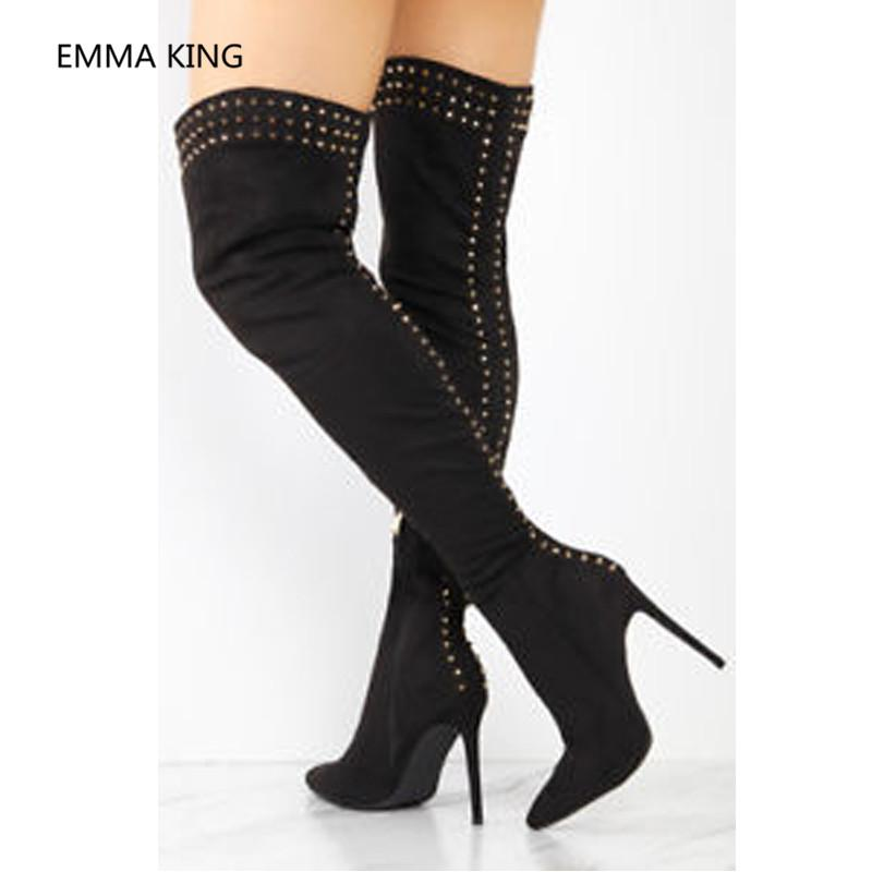 d35e2c756fe Gold Rivets Studded Over The Knee Winter Boots Women Pointed Toe Luxury  Designer Shoes Sexy High Heels Women Long Knight Boots Cheap Boots Brown  Boots From ...