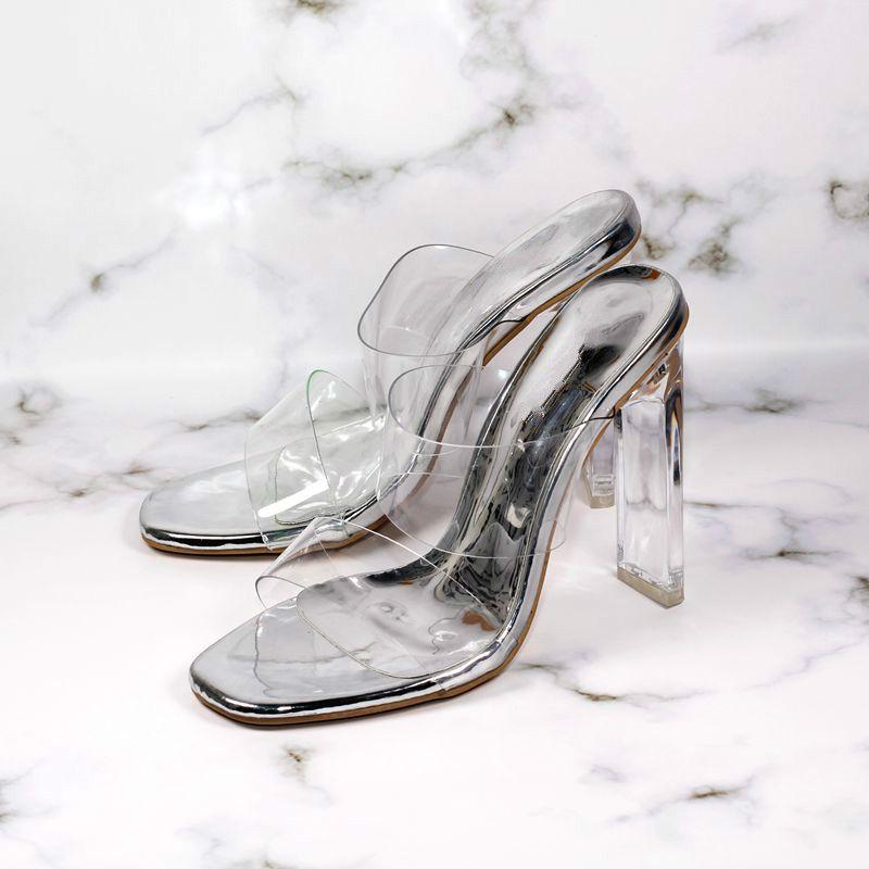 Artı boyutu 35-40 41 42 fluorecent Yeşil PVC Kalın Şeffaf Topuk Katır Şeffaf Ayakkabı Kutusu ile gel