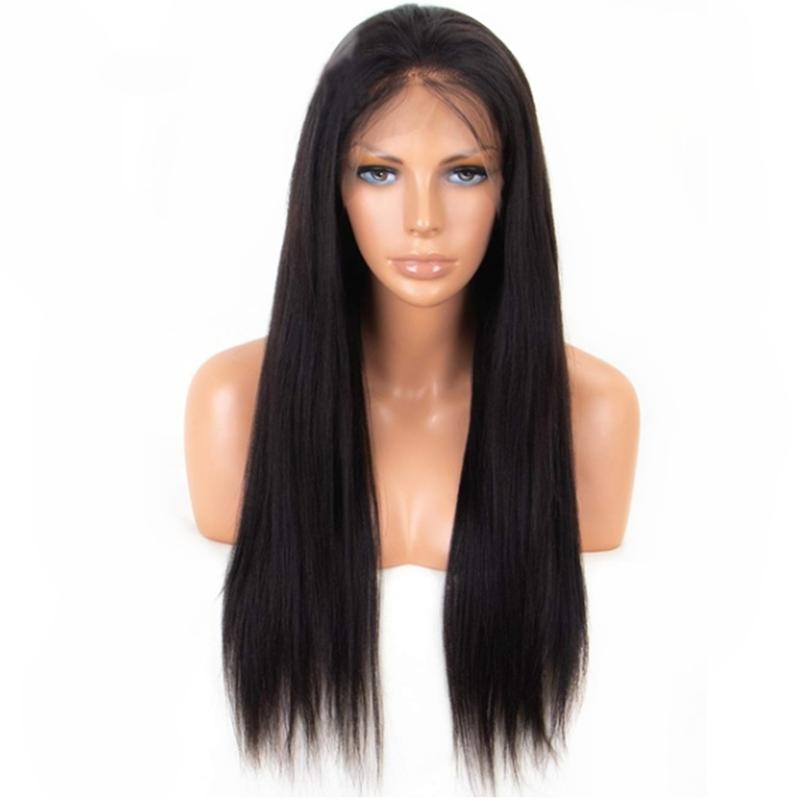 High Quality Wigs 1b  Yaki Straight Hair Wigs With Baby Hair Heat Resistant  Glueless Synthetic Lace Front Wigs For Women Best Synthetic Wigs Synthetic  Lace ... f8695a92f3