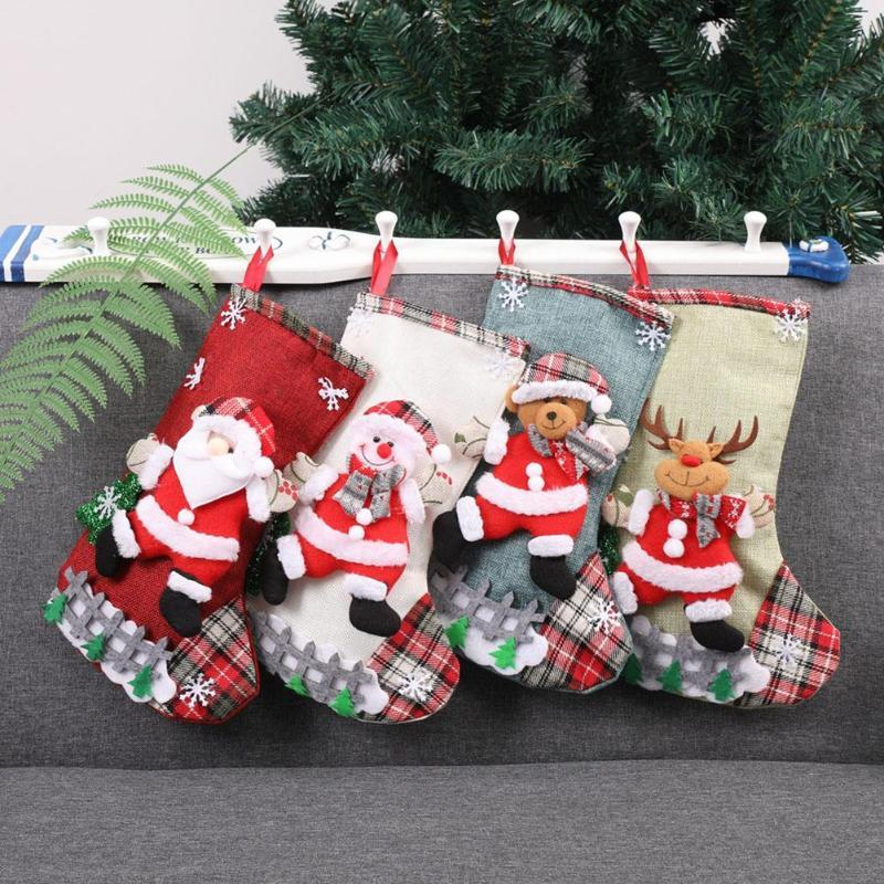 4pcs Santa Claus Snowman Bear Elk Christmas Stocking Xmas Pouch Gift Bags Christmas Decoration For Home New Year Kid Gift