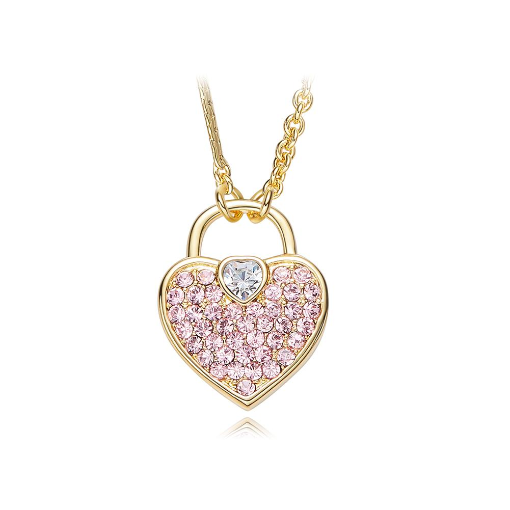 Wholesale Wholesale Crystals From Swarovski Pendants Women Necklaces Blue Gold  Color Pink Heart Pendant Romantic Jewelry Chic Bijoux Gift New Silver ... d43982af6ee1